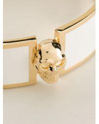 Alexander McQueen - Metallic Skull Detail Bangle - Lyst