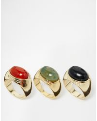 ASOS - Metallic 3 Pack Chunky Oval Rings - Lyst