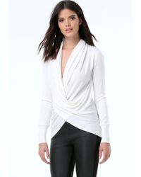 Bebe | White Crystal Cross Drape Sweater | Lyst