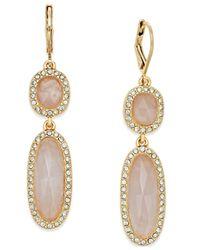 kate spade new york Metallic Gold-tone Rose Quartz Double Drop Earrings