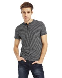 Kenneth Cole | Gray Yarn Dye Stripe Henley T-Shirt for Men | Lyst