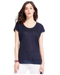 Tommy Hilfiger | Blue Solid Woven-hem Top | Lyst