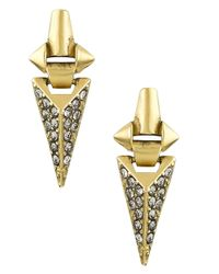 Sam Edelman | Metallic Pave Crystal-encrusted Pendant Earrings | Lyst