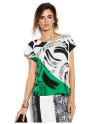 Vince Camuto - Green Cap-Sleeve Printed Boxy Blouse - Lyst