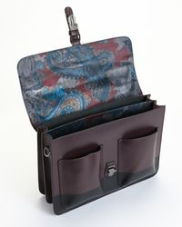 Ted Baker - Brown Striped Leather Satchel for Men - Lyst