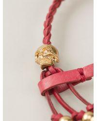 Alexander McQueen | Red Woven Skull Bracelet | Lyst