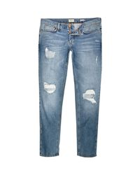 River Island Blue Light Wash Ripped Sid Skinny Stretch Jeans for men