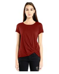 Michael Stars | Red Supima Cotton Tee With Pleat Detail | Lyst
