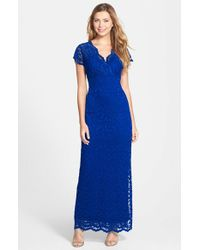 Marina | Blue Surplice Stretch-Lace Dress | Lyst