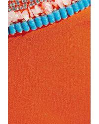Saloni Orange Vanessa Embellished Satin-crepe Maxi Skirt