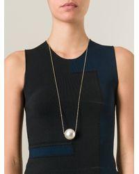 Ferragamo Metallic Pearl Pendant Necklace