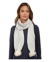 UGG - Natural Reversible Cardy Scarf W/ Fur Poms - Lyst