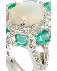 Sutra - Green White Opal And Emerald Ring - Lyst