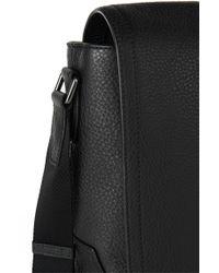 BOSS Black 'glenk'   Leather Messenger Bag With Adjustable Strap for men