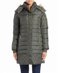 Sam Edelman Green Faux Fur-trimmed Puffer Coat