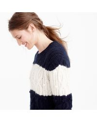 J.Crew | Blue Italian Cashmere Cable Sweater In Stripe | Lyst