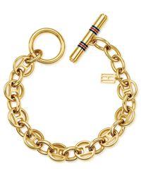 Tommy Hilfiger Metallic 14k Gold-plated Stainless Steel Flag Link Toggle Bracelet