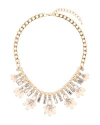 Mikey | White Crystal Enamel Flower Hanging Necklace | Lyst