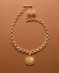 Elizabeth Locke Metallic 19K Small Elba Flat Link Necklace