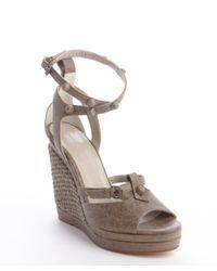 Balenciaga - Gray Grey Distressed Leather Arena Wedge Sandal Sandal - Lyst