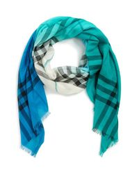 Burberry Blue Ombre Check Wool & Silk Scarf