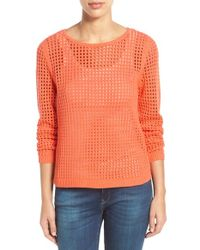 Fever Orange Open Knit Sweater