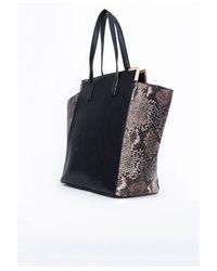 Missguided Savannah Oversized Snake Detail Shopper Bag Black