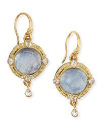 Armenta | Metallic Midnight 18k Gold Earrings With Kyanite & Diamonds | Lyst