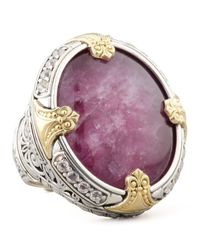Konstantino - Metallic Round Silver 18k Gold Ruby quartz Doublet Ring - Lyst