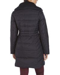 Anne Klein | Black Knit Collar Down Coat | Lyst