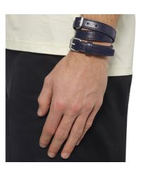 Balenciaga Blue Wrapped Creased-Leather Bracelet for men