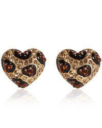 River Island | Black Gold Tone Rhinestone Leopard Heart Earrings | Lyst