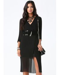 Bebe | Black Clair Lace Trim Dress | Lyst