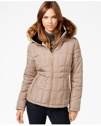 Calvin Klein | Brown Faux-fur-trim Water-resistant Quilted Puffer Coat | Lyst
