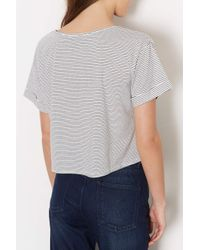 TOPSHOP - Natural Stripe Pocket Cropped Tee - Lyst