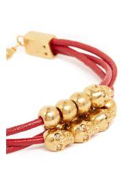 Alexander McQueen - Red Multi Skull Leather Bracelet - Lyst