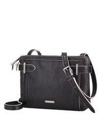 Lauren by Ralph Lauren - Black Gladstone Leather Double-Zip Crossbody Bag - Lyst