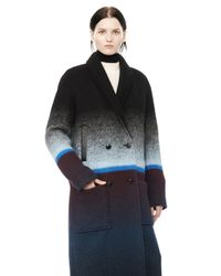 Alexander Wang | Blue Double Breasted Long Car Coat | Lyst