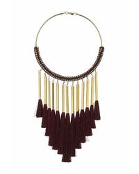 TOPSHOP | Red Fabric And Tassel Torque | Lyst
