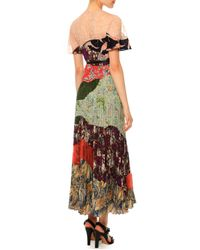 Valentino - Multicolor Multi-print Pleated Patchwork Dress - Lyst
