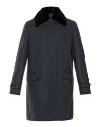 Brioni Blue Prince Of Wales Cashmere and Mink-Fur Coat for men