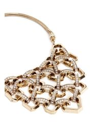 Lulu Frost Metallic 'narcissus' Honeycomb Chain Link Plastron Necklace
