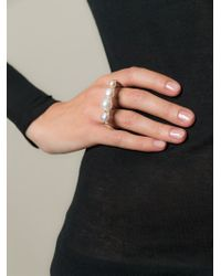 Bukkehave - Metallic 'pearly King' Double Ring - Lyst