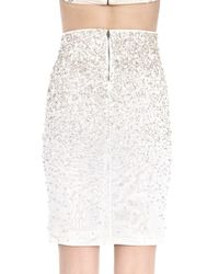 Alice + Olivia - Natural Ramos Embellished Fitted Skirt - Lyst