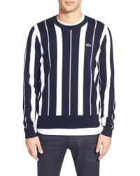 Lacoste | Blue Lacoste L!ve Stripe Crewneck Sweater for Men | Lyst