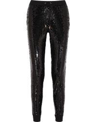 MICHAEL Michael Kors Black Sequined Jersey Track Pants