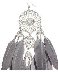 H&M - Metallic Large Earrings With Feathers - Lyst