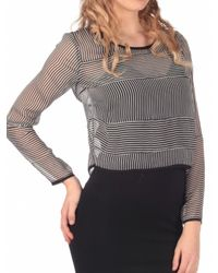 Lucca Couture | Black Two Tone Striped Top | Lyst