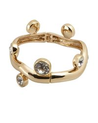 Kenneth Jay Lane | Metallic Gold And Crystal Branch Bangle | Lyst