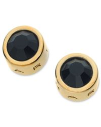 T Tahari | Metallic 14k Gold-plated Jet Crystal Stud Earrings | Lyst